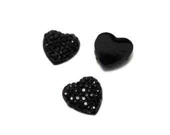 20 black Rhinestone Heart shaped Flat back Cabochon Cabs