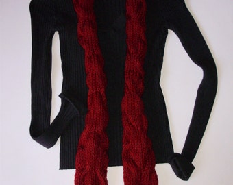 Doctor Who Amy Pond Pandorica Opens Replica Red Cable Scarf In Cranberry Red by Ashlee's Knits Cosplay Made to Order