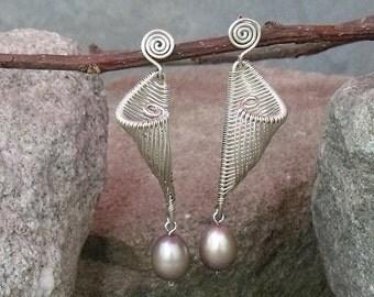 Wirewrap Earrings, Silver Earrings, Wirework Earrings, Pearl Earrings