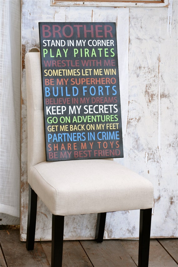 items similar to brothers poem boys room signs
