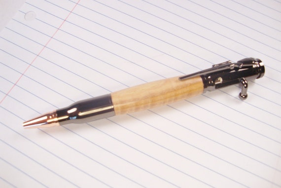 Beautiful curly maple Bolt Action pen, a great gift for hunters