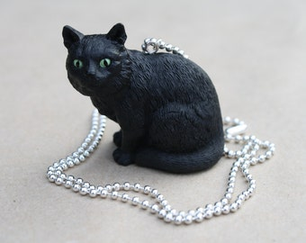 Black Cat - Plastic Pendant on Shiny Silver Ball Chain