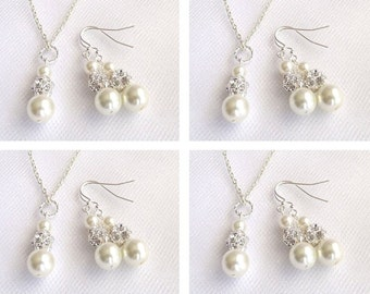 white ivory bridesmaid jewelry, set of 4, pearl wedding jewelry, bridesmaid necklace, bridesmaid earrings, pearl bridesmaid jewelry set of 4