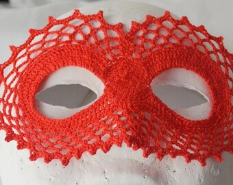 RED Masquerade Mask , Elegant mask . Party accessory, Handmade  Crochet mask,christmas party, halloween party ,party costume
