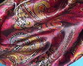 Warm colors paisly silk scarf