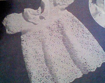 Vintage Crochet Baby Dress Pattern : baby dress patterns ? Etsy