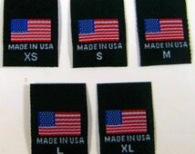 100 pcs Black American Flag - Made in USA, Red White & Blue Woven Clothing Sewing Labels XS S M L XL
