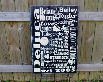 Subway Family Sign Personalized Wedding Gift, Engagement Gift, Anniversary Gift, Important Date Custom Wood Sign