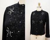 Vintage 1950s Black Beaded Cardigan / 50s Soft Crewneck Sweater / Size Medium