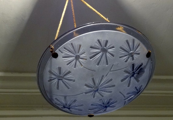 Original Signed DEGUE 1930s Vintage French Art Deco Light Fixture Pale Violet/Periwinkle - Looks Great in all Decors