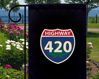 Highway 420 Pot Leaf New Black Small Garden Flag, Pop Culture