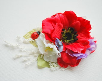 red poppy bridal hair comb, wrist corsage, weddings accessories, bridesmaids headpiece, country wedding, bridal sash, photo prop, red blue