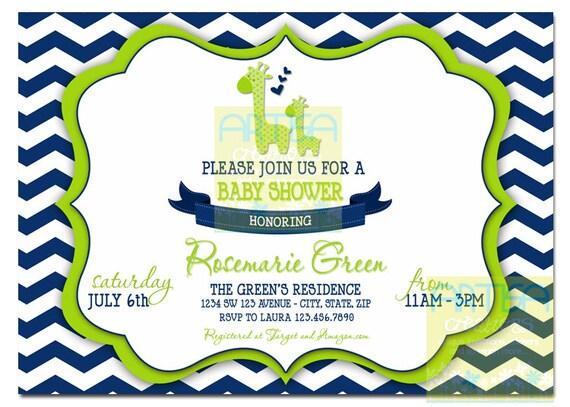 Navy Blue and Lime green Chevron Giraffe Baby Shower Invite