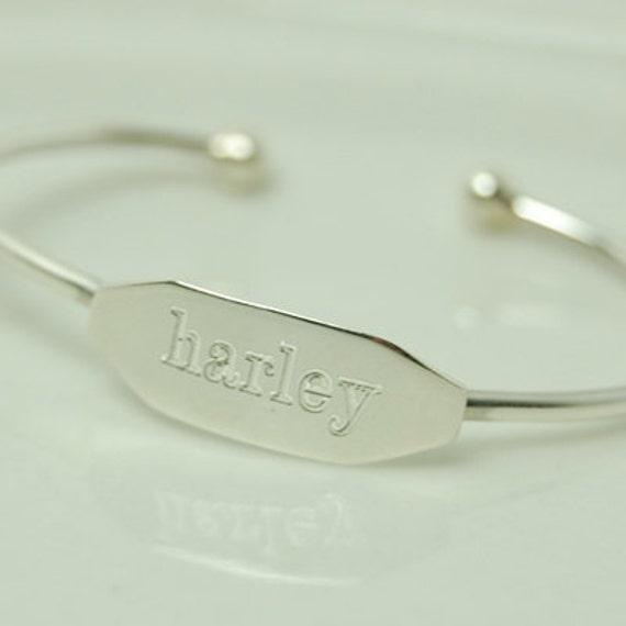 sterling silver engraved baby bracelet. Black Bedroom Furniture Sets. Home Design Ideas