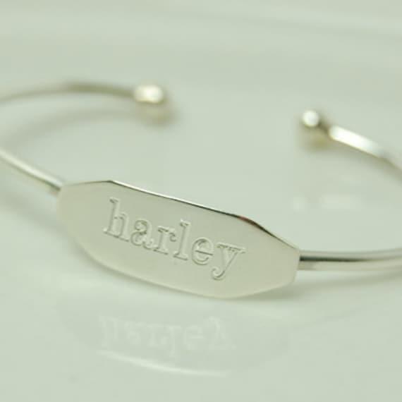 Sterling Silver Engraved Baby Bracelet