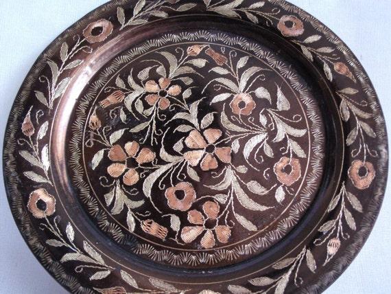 Vintage Copper Wall Hanging Plate Etched Flowers ERZINCAN