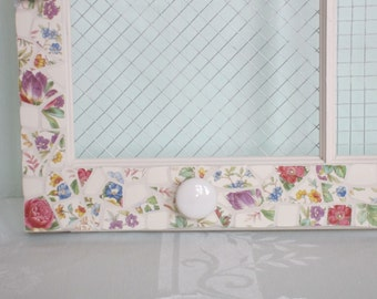 Farmhouse Window Jewelry Hanger with Vintage China Mosaic