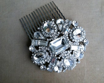 winter wedding, SALE, Art Deco headpiece, Wedding hair comb, art deco comb, bridal Hair Comb, large, crystal hair comb, 1920s