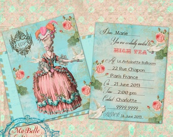 Marie Antoinette High Tea Post Card, Double Sided, Digital Invitation Set-Instant Download