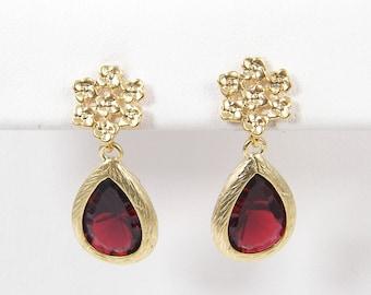 Garnet Drop Earrings, Gold Flower Burgundy Earrings Merlot Post Earrings, Bridal Wedding Jewelry Gold Framed Faceted Teardrop  RJ1-1