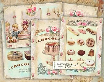 Sweet Cards - digital collage sheet - set of 8 - Printable Download