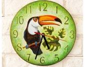 The Toucan Wall Clock OOAK Home Decor for Children Baby Kid Boy Girl Nursery Playroom
