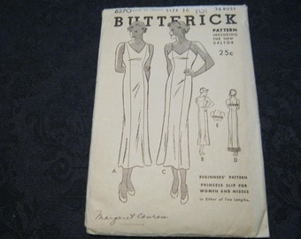 1920s dress pattern, Butterick princess slip dress