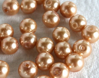 26 Golden Pearl Glass Beads