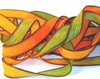 Fireflies Hand Dyed Silk Wrist Wrap Ribbons// 42 inch silk ribbon//DIY Yoga Wrap Bracelet Ribbons//Silk Ribbon//  By Color Kissed Silk