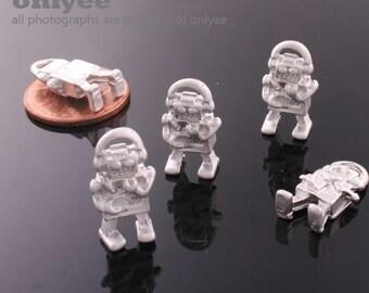 4Pcs -16mmX8.5mmMatt Rhodium Plated over zinc Alloy Tiny Robot Charms Pendant(K556S)