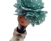 Wine stopper: Blue and white polka dot flower hat, hand painted, doll, metal wine stopper