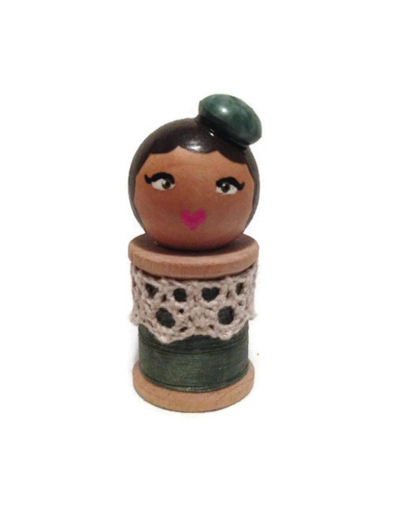Spool doll: collectible doll with button hat, vintage wood spool