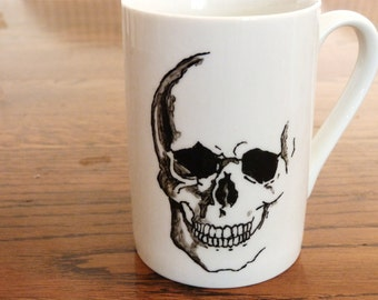 Anatomical Skull, Hand Printed, Hand Painted  cup