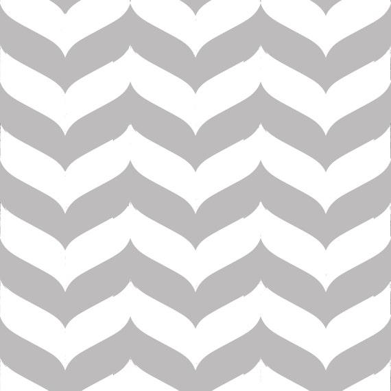 Removable wallpaper wave chevron print in gray and white