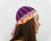 Womens SUMMER HAT crochet hat GATSBY women hat fabric hat summer sexy hat purple hat hippie hat lace beanie hat