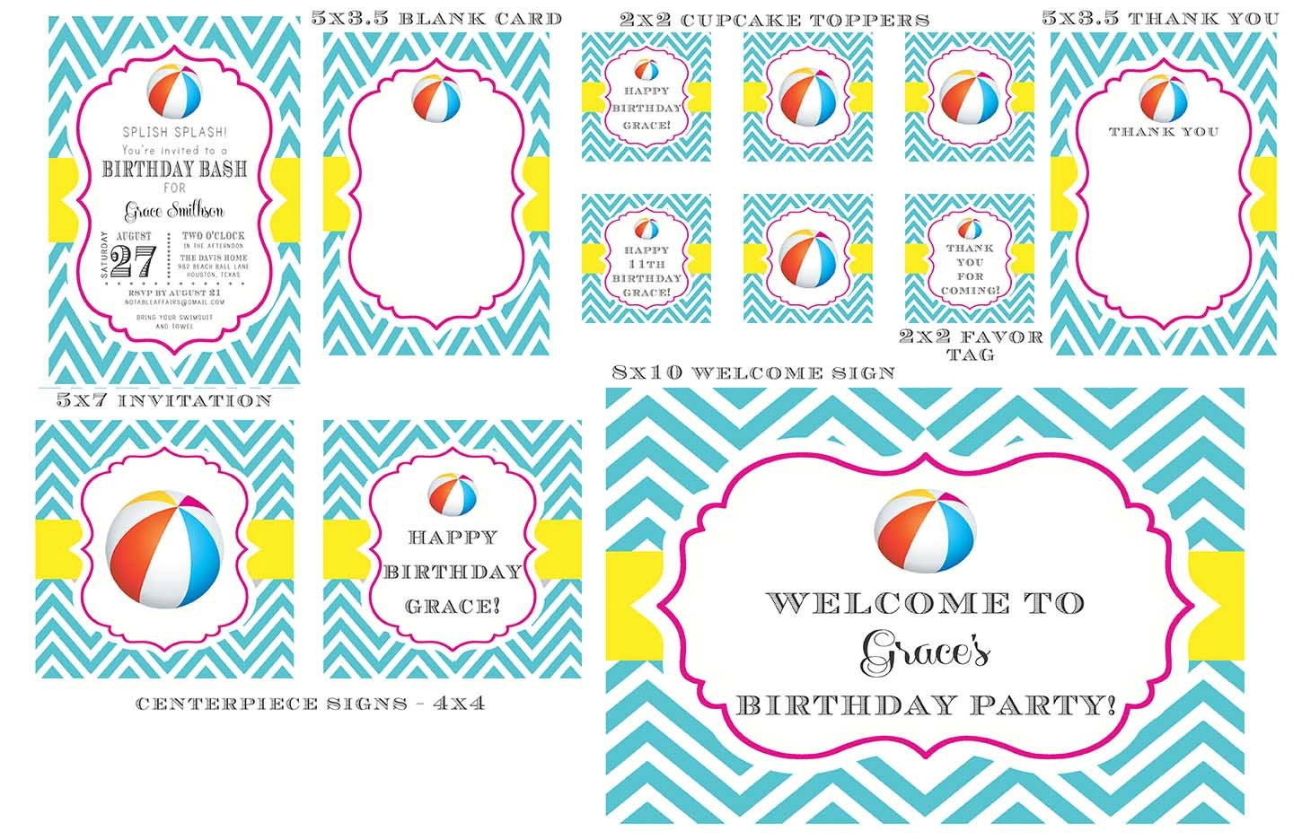 Beach Pail Party Favors Saying Thank You For Coming: PRINTABLE Chevron Beach Ball Pool Party School Is Out Birthday