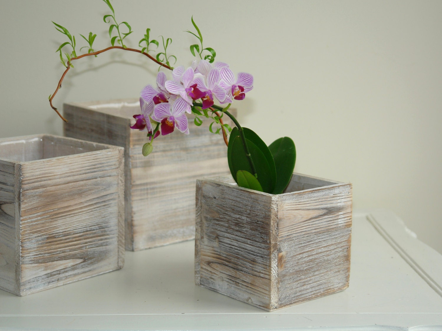 Wood box woodland planter flowers vases rustic pot square - Wooden containers for flowers ...