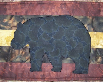 LOG CABIN - Bear - Plate Placers Applique Quilted Placemats PDF E-Pattern