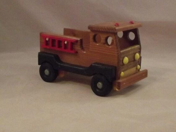small wooden fire truck