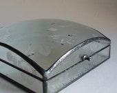 Stained glass jewelry box - floral glass pattern - medium square dome