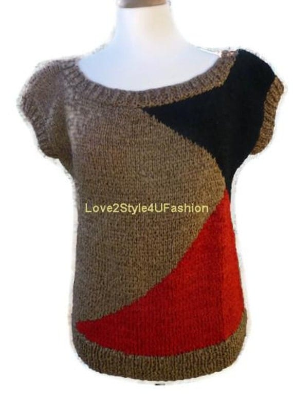 Womens Hand Knit Sweater Asymmetrical Unique Sweater Luxury Silk Ribbon Designers Tunic Taupe, Red, Black Love2Style4UFashion-Ready to Ship