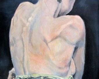 "Lady in Blue, oil on wood, 16"" x 20"""