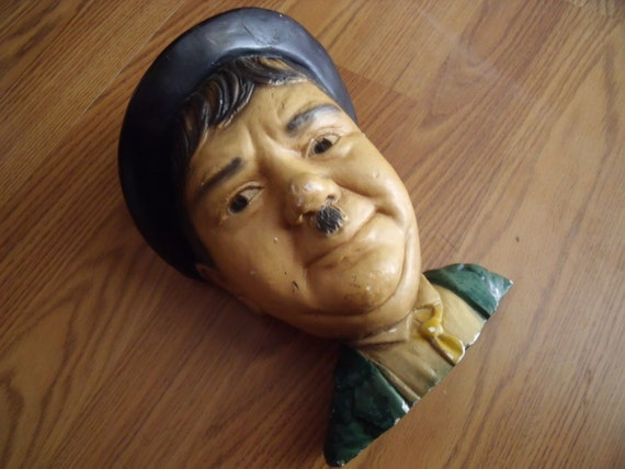 Collectible 1970s Chalkware Oliver Hardy Head Bust Wall Hanger ESCO Productions