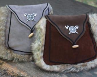 Medieval Suede Handbag with Fur Trim and Shoulder Strap, Two Colors, Handmade