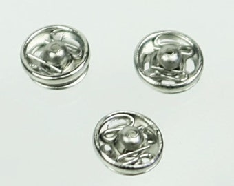 A-068 /  Tiny silver sew-on snaps buttons /  36 sets /  7 mm.