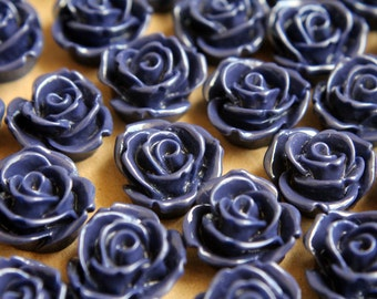 CLOSEOUT - 10 pc. Midnight Blue Large Rose Cabochons 19mm | RES-312