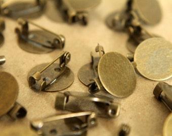 10 pc. Antique Bronze Brooch Finding, 15mm pad   FI-089
