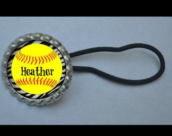 Personalized  Softball Ponytail Holder- pony tail holder, softball mom, softball team gift, softball team idea, party favor