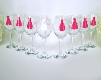 8 Bridesmaid Dress Wine Glasses - Personalized Wedding Wine Glass - Dress Wine Glasses - Wedding Glassware - Wedding Gift