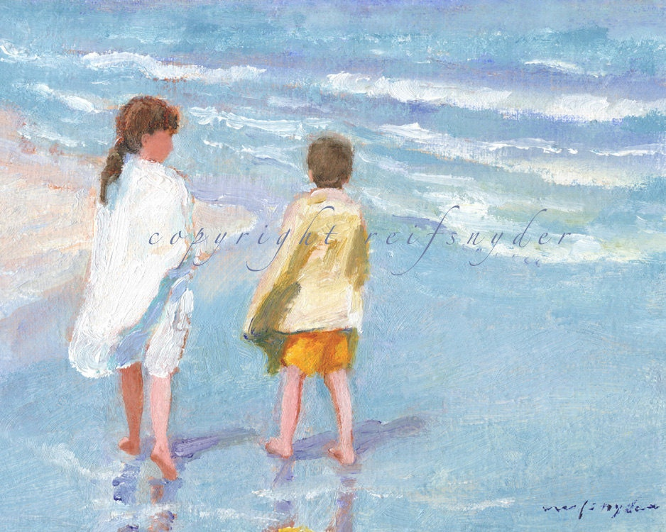 Beach Print Of Two Children Boy And Girl At The Beach
